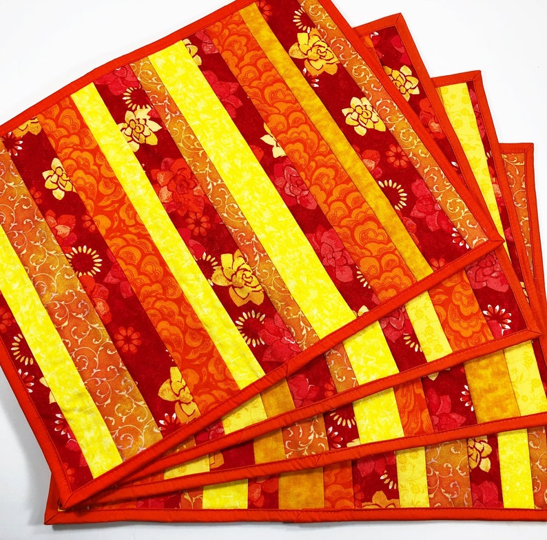 Red Quilted Placemats   Floral Place Mats  Set of 4  Dining image 0