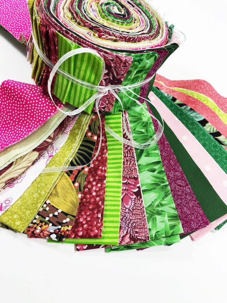 Jelly Roll Fabric  Quilting Fabric Strips  Green and Pink image 0