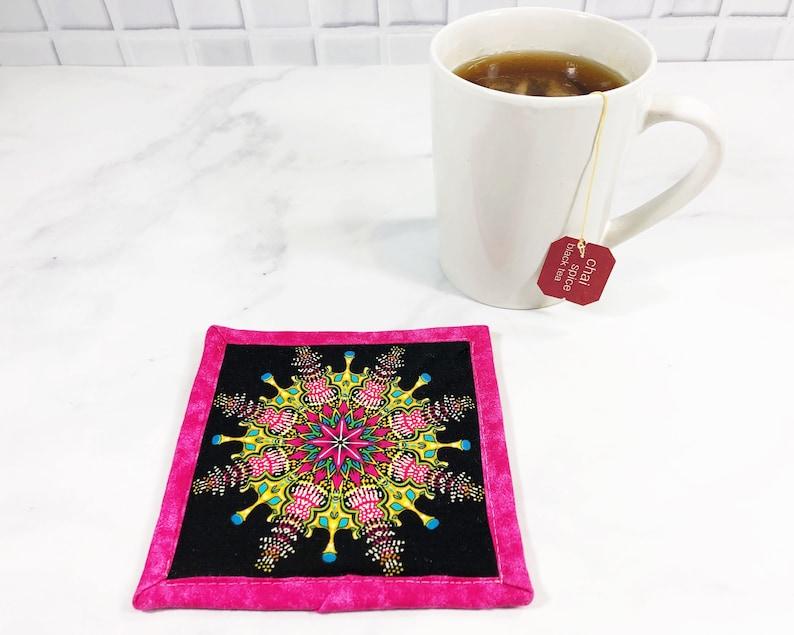 Mandala Coaster   Neon Fabric Mug Rug  80s Lover Gift  Pink image 0