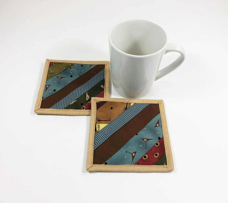Quilted Mug Rugs Country Fabric Coasters for Drinks Coffee image 0