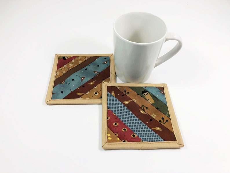 Country Fabric Coasters for Drinks Quilted Mug Rugs Coffee image 0