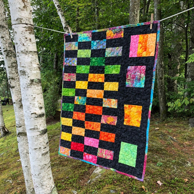Baby Quilt for Baby Shower Gift  Colorful Wall Hanging  image 0
