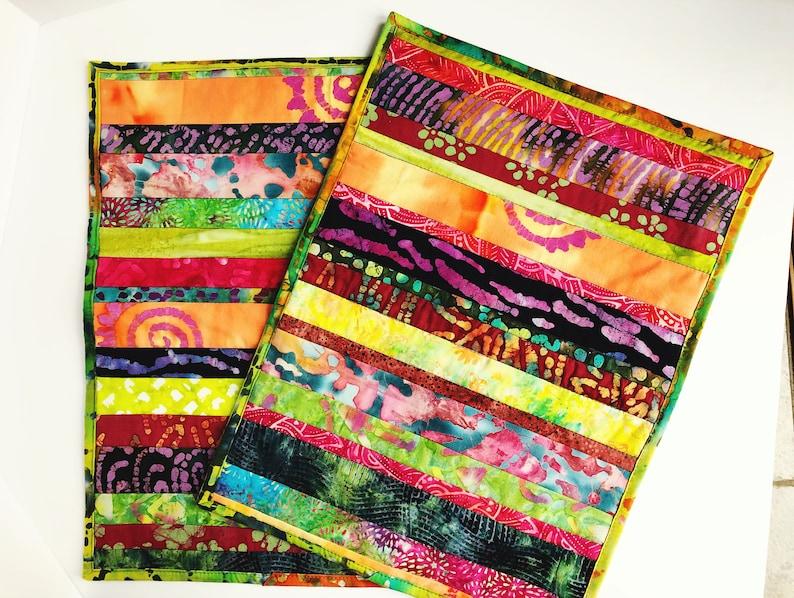 Quilted Placemat  Batik Fabric Place Mats  Placemat Set of 2 image 0