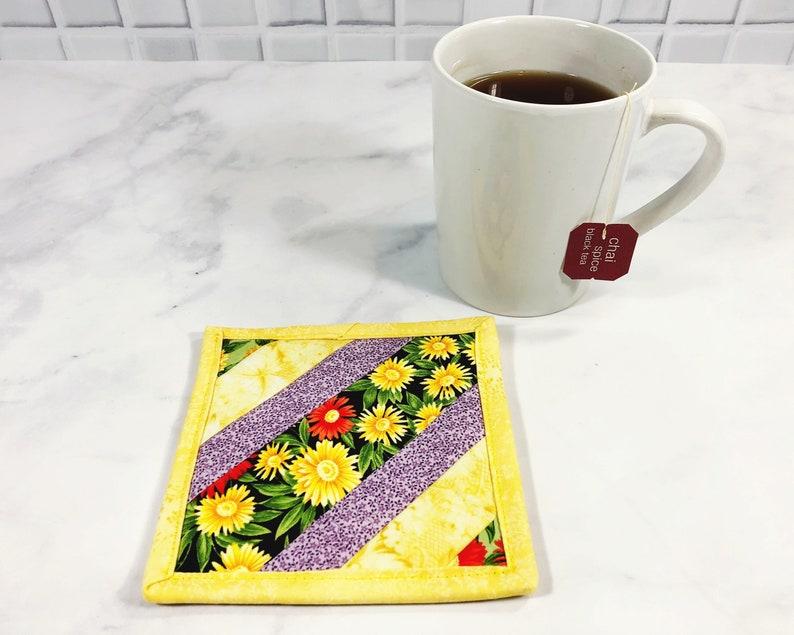 Yellow Mug Rug  Fabric Coasters  College Student Gift  image 0