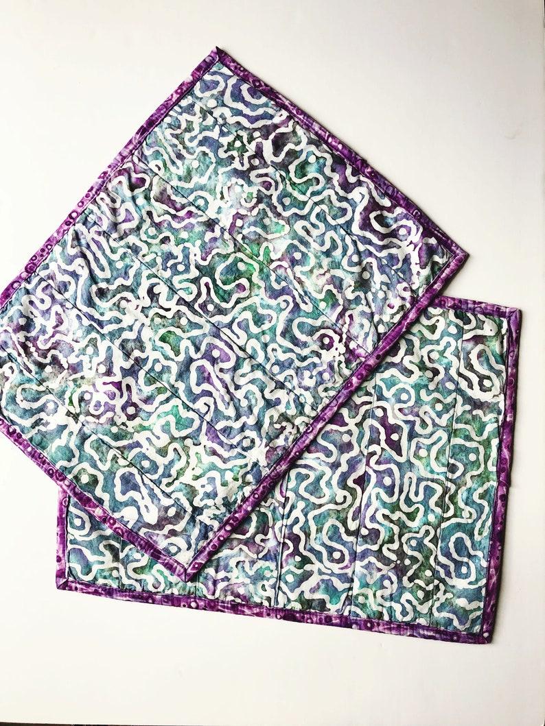 Quilted Placemats  Set of 2 Place Mats  Batik Blue Purple  image 0