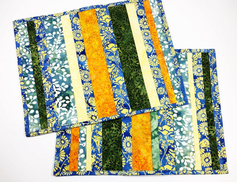 Batik Quilted Placemats   Floral Fabric  Place Mat Set of 2 image 0