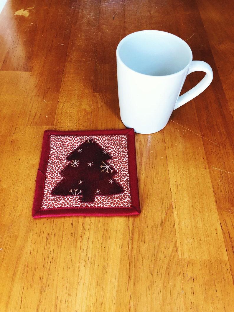 Christmas Fabric Coaster  Red Quilted Mug Rug  Christmas image 0