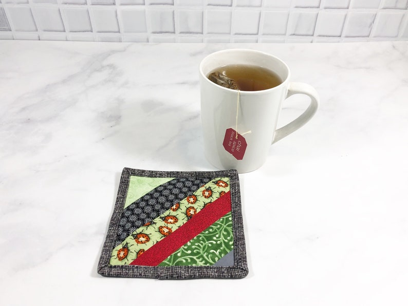 Ladybug Drink Coaster Striped Mug Rug for Sale Lady Bug image 0