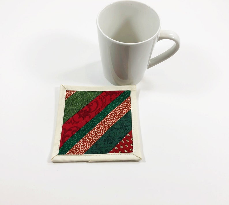 Christmas Fabric Coaster Sets  Red and Green Quilted Mug Rug image 0