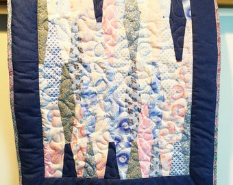 Baby play mat modern baby quilt, baby shower gift for girl.  Pink and blue wall quilt.  Stroller blanket. New mom gift. Baby quilts for sale