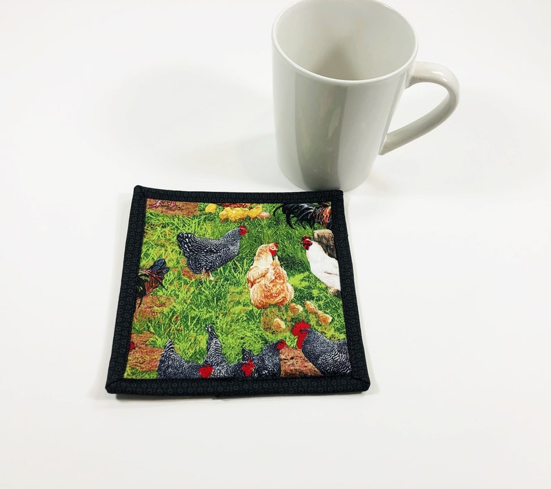 Chicken Mug Rug  Coaster for Coffee Table  Chicken Cotton image 0