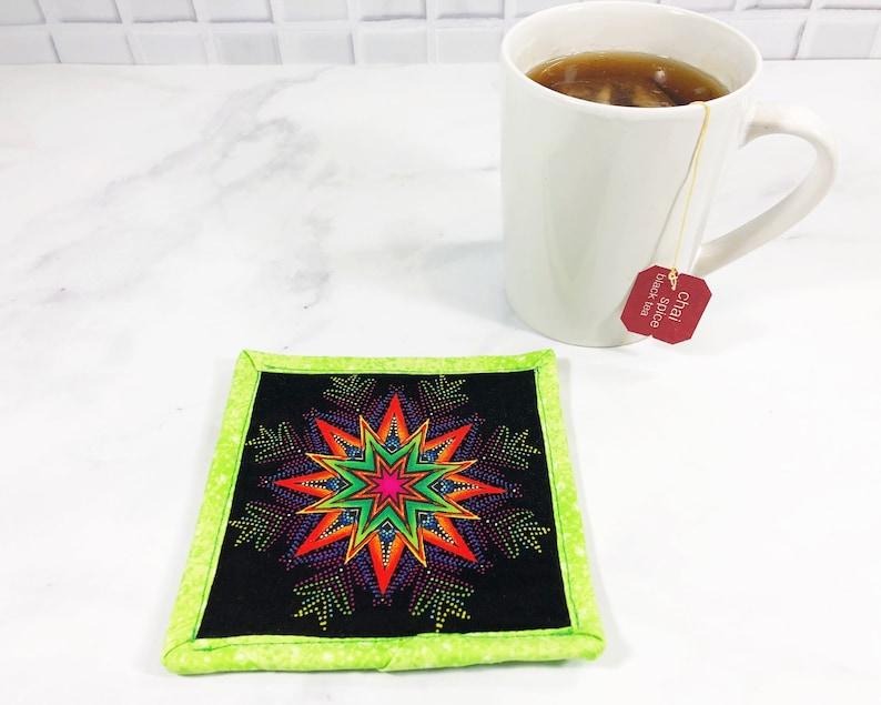 Chartreuse Mandala Coaster   Neon Fabric Mug Rug  80s Lover image 0