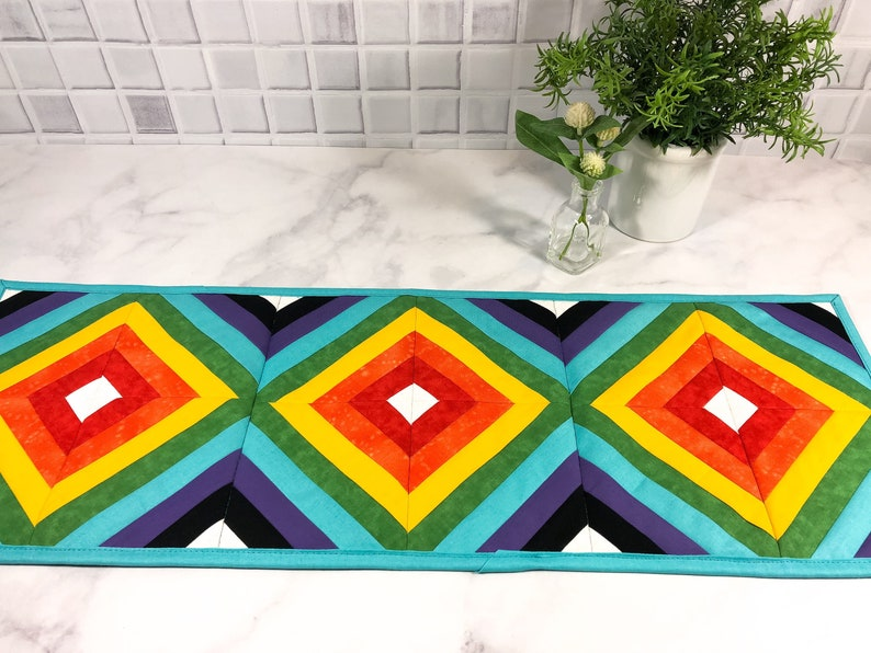 Quilted Table Runner Rainbow LGBT Bright Colors Modern Home image 0