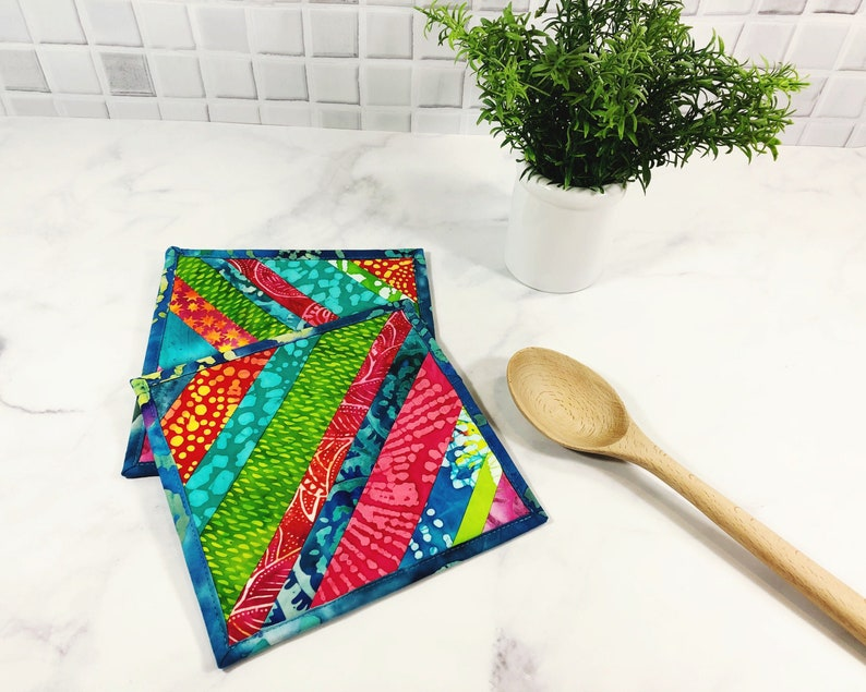 Batik Potholders  Fabric Pot Holders Set of 2  Trivets for image 0