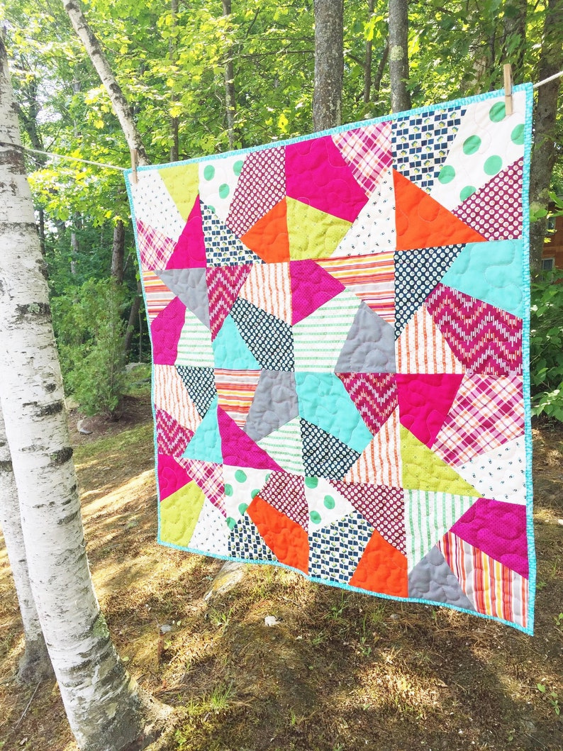 Baby Gift Girl  Homemade Quilt  Modern Wall Hanging  image 0