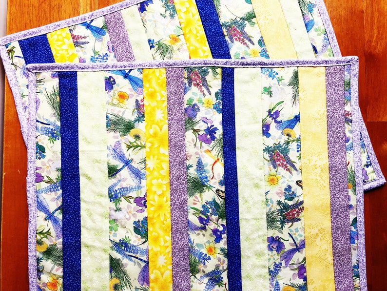 Dragonfly Quilted Place Mats  Set of 2 Placemats  Blue image 0