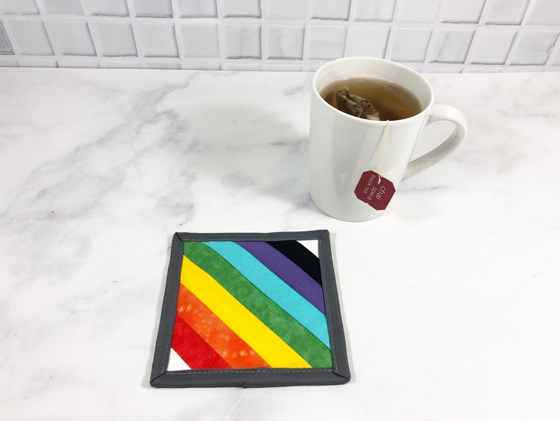 Rainbow Stripe Fabric Mug Rug LGBT Drink Coaster Pride Table image 0