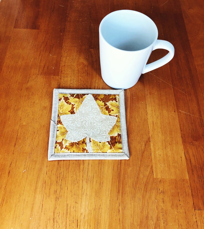 Maple Leaf Fabric Coaster  Mug Rug for Drinks  Mug Rug Quilt image 0
