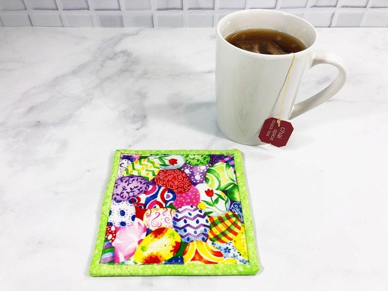 Easter Fabric Mug Rug  Easter Egg Coaster  Gift for Teen or image 0