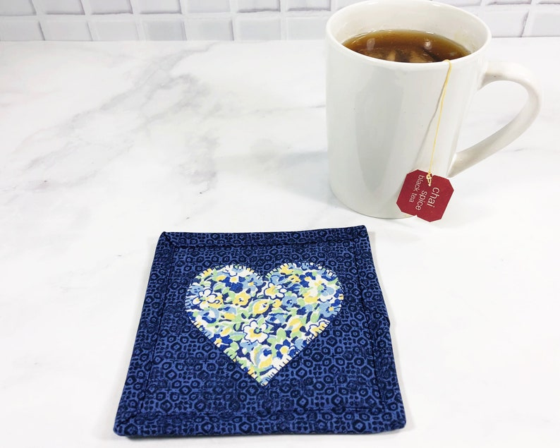 Heart Fabric Coaster  Mug Rug for Sale  College Student Gift image 0