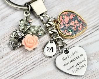 Gift Idea For Sister Personalised Keychain Best Friend Heart Keyring Birthday