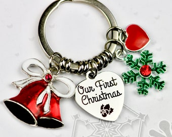 beautiful christmas our first christmas charm keychain christmas gift for girlfriend husband wife our first christmas keepsake gift