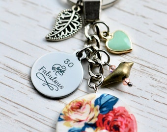 30th birthday gift, 30th birthday for her, 30th birthday keychain keyring, 30th birthday gift for wife, friend, sister etc.