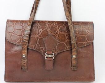 Large bag LORENZO leather Croco Brown good VINTAGE condition (2058)