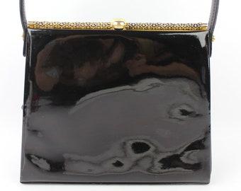 VINTAGE RETRO bag leather patent black good condition (2109)