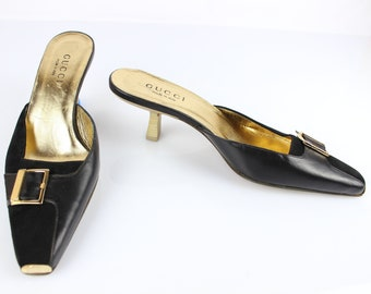 2e428869b Vintage GUCCI leather and suede mules Black 8 B/UK 5.5/FR 38.5 very good  condition