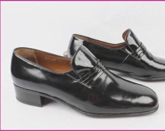 Vintage moccasins ROLLS Paris Luxury Leather patent black Uk 10.5 E / en 45 very good condition (1089)