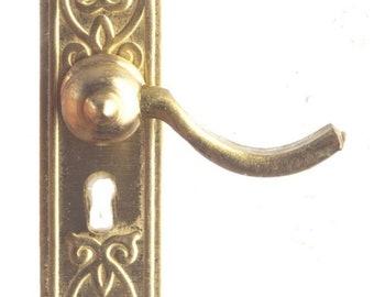 1//12 Scale 5PCS Dollhouse Miniature Bronze Handles Set Door Knobs Fittings Tu