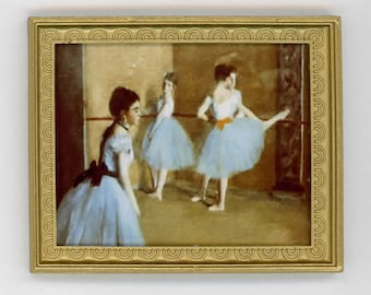 Miniature Art 1:12 Scale Print of a Famous Degas Family Portrait in a Gold Frame