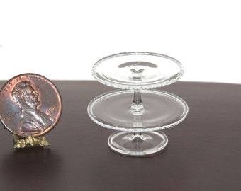 Dolls House Metal Cake Stand Silver 1:24 Scale Miniature Dining Room Accessory