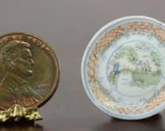 Landscape Trimmed in Blue Dollhouse Miniature Artisan Hand Painted Plate
