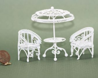 Dollhouse Miniature Elegant Garden Black Wire Table and Chairs Set