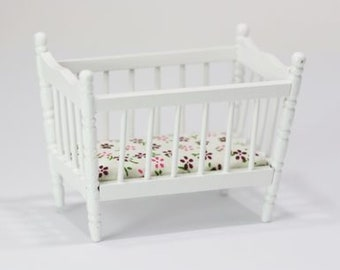 Dollhouse baby crib dolls house infant bed mattress 1 12th scale miniature Pink /& Orange