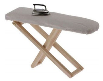 Details about  /1:12 scale Doll House Miniature Iron With Ironing Board set Pretend Play rj