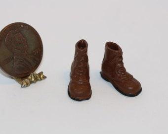 Dollhouse Miniature Artisan Handmade Aged Light Brown Cowboy Boots