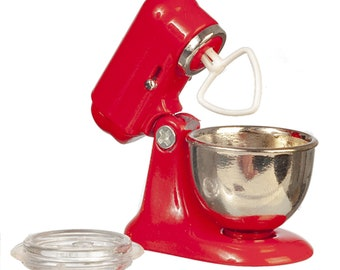 Dollhouse Miniature Red Mixer with Bowl by Falcon Miniatures