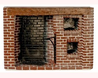 Dollhouse Miniature Brick Colonial Walk in Fireplace in Resin