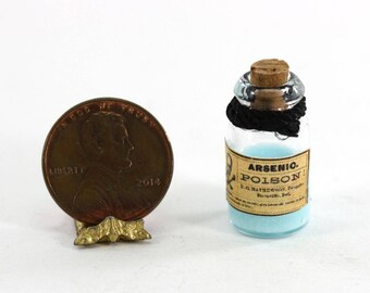 Glass Bottle of Vintage Look Blue Faux Arsenic Poison