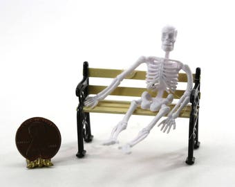 1:24 Scale White Skeleton Sitting on a Park Bench