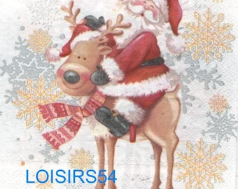 Reindeer and Santa Claus - 33 cm x 33 cm paper towel
