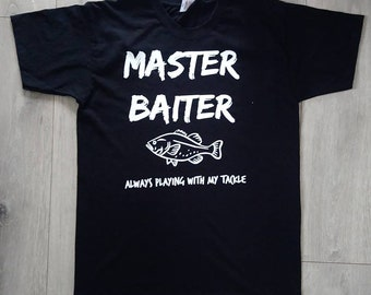 59b55e68a Fishing T-shirt, Maister Baiter, Funny Mens Top, Gift for Fisherman, Dad  Boyfriend Present For Fish Fan Fishers Tshirt Up To Large Size