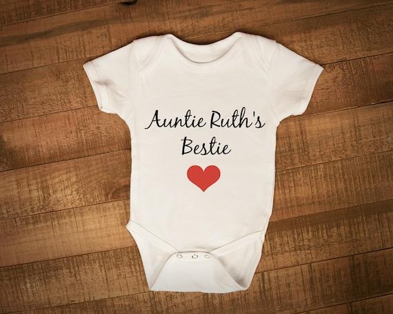 """Auntie Baby Bib  /""""My Auntie is My Bestie/"""" Love Aunty Niece Nephew Gift"""