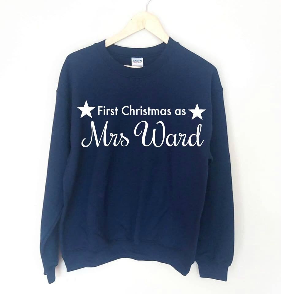 ab254fe52570 Personalised First Christmas As Mrs Jumper Sweatshirt New