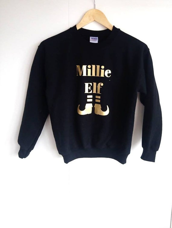 d54a811131aa Personalised Black and Gold Christmas Elf Jumper Matching