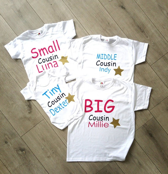 personalised cousin family name t-shirts big little tiny babygrow tops middle