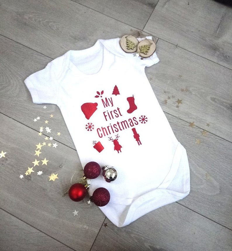 883dd125d My First Christmas baby Vest babygrow   Etsy